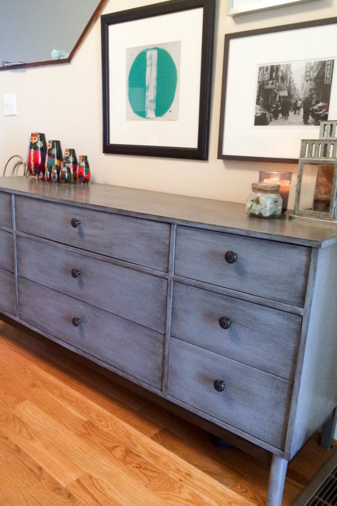 Valspar antiquing glaze on a painted credenza