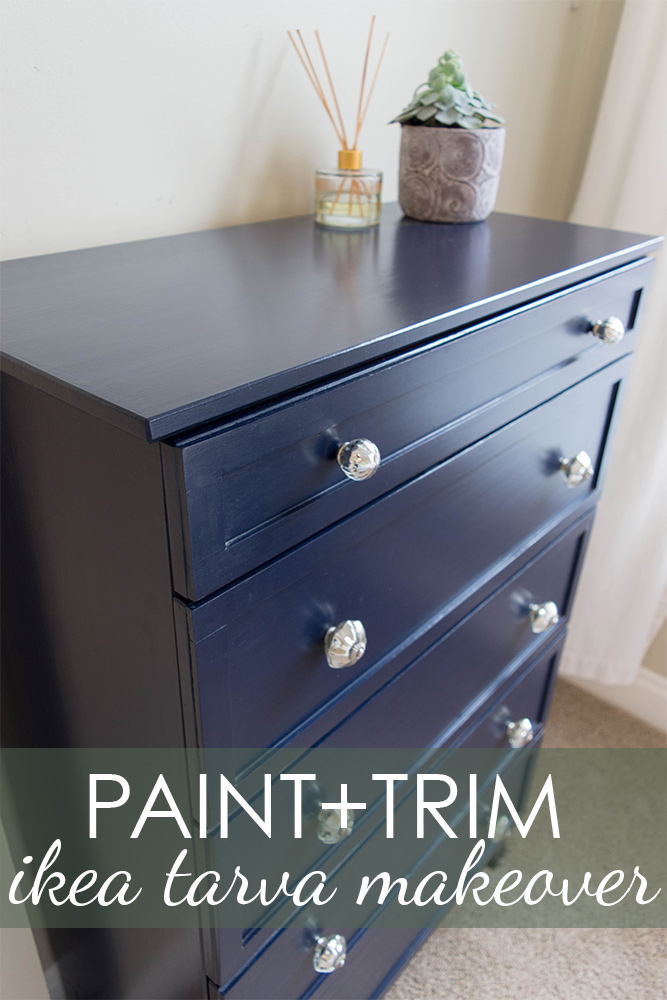 Ikea tarva hack with simple wood trim and Benjamin Moore 'Hale Navy' paint