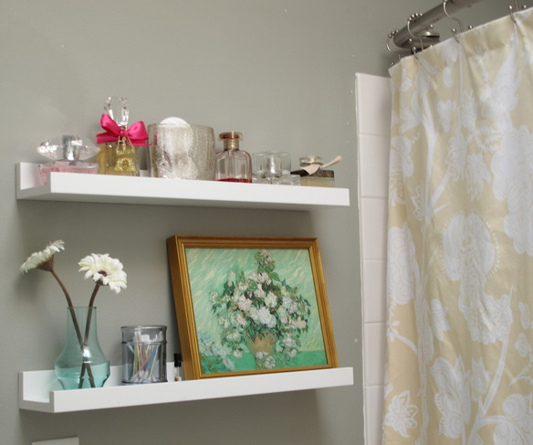 Small bathroom storage solution: picture frame shelves