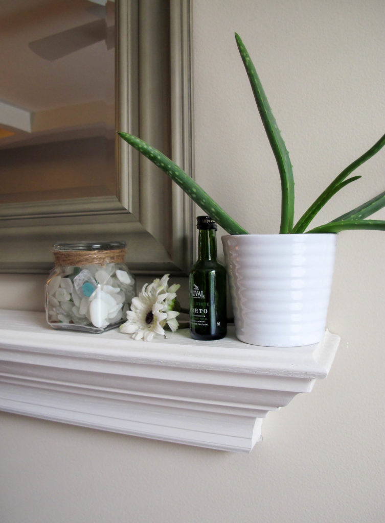 Skip the DIY for this one - crown molding faux mantle shelf from amazon.com!