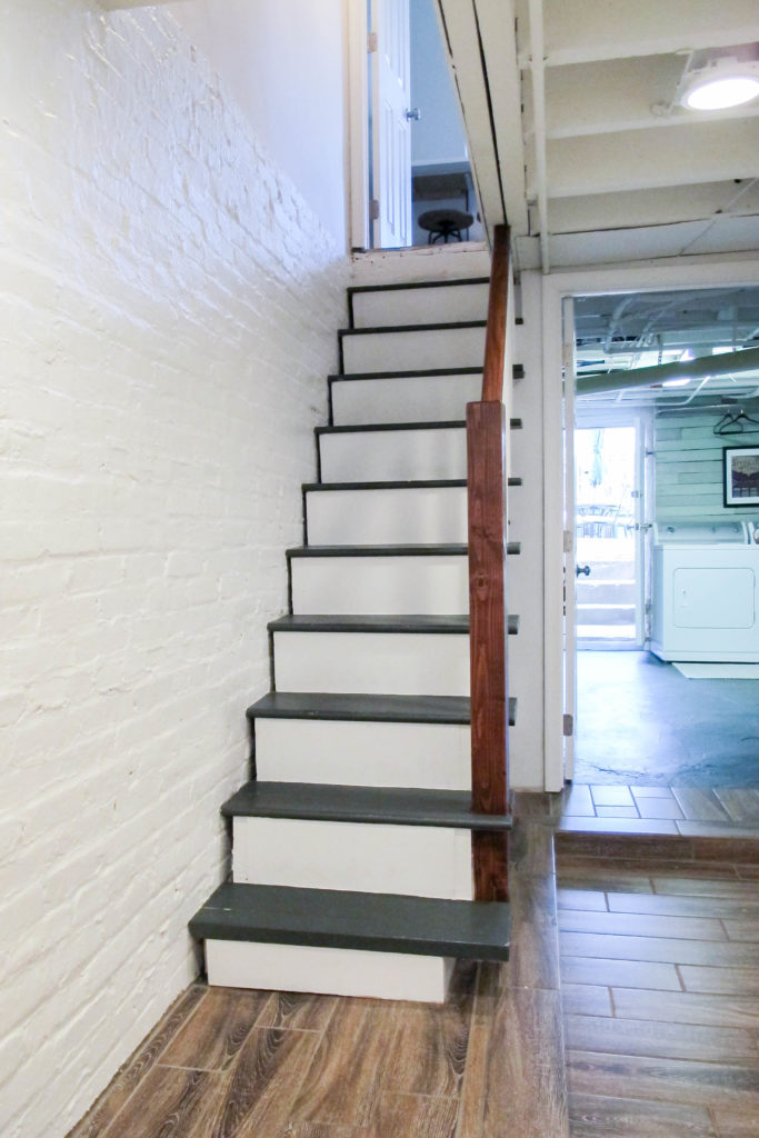 Upgrading basement stairs with paint and plywood - no need to rip them out!