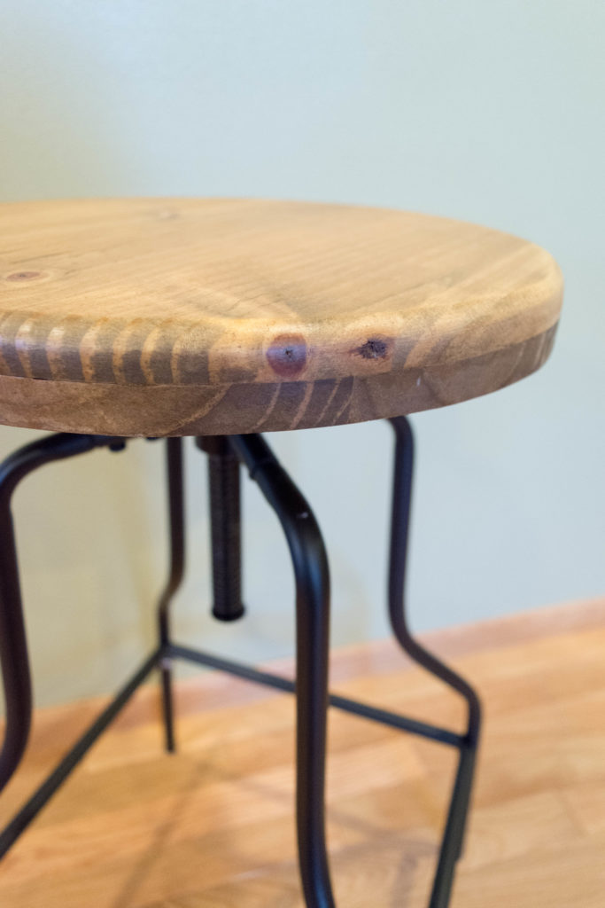 Simple facelift for cheap barstools: replace the seats with wood