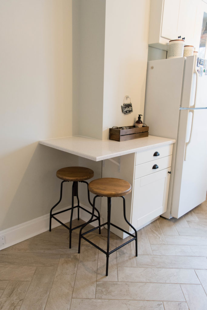 Small breakfast nook or bar for two in a tiny kitchen