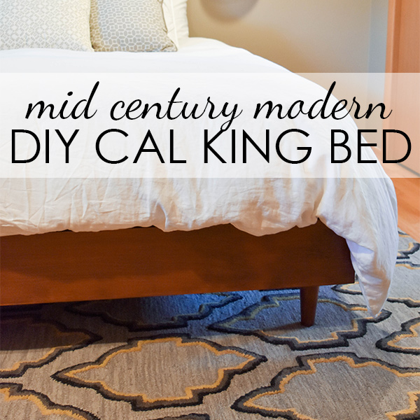 West Elm inspired DIY mid century bed frame for California King (or any size bed)