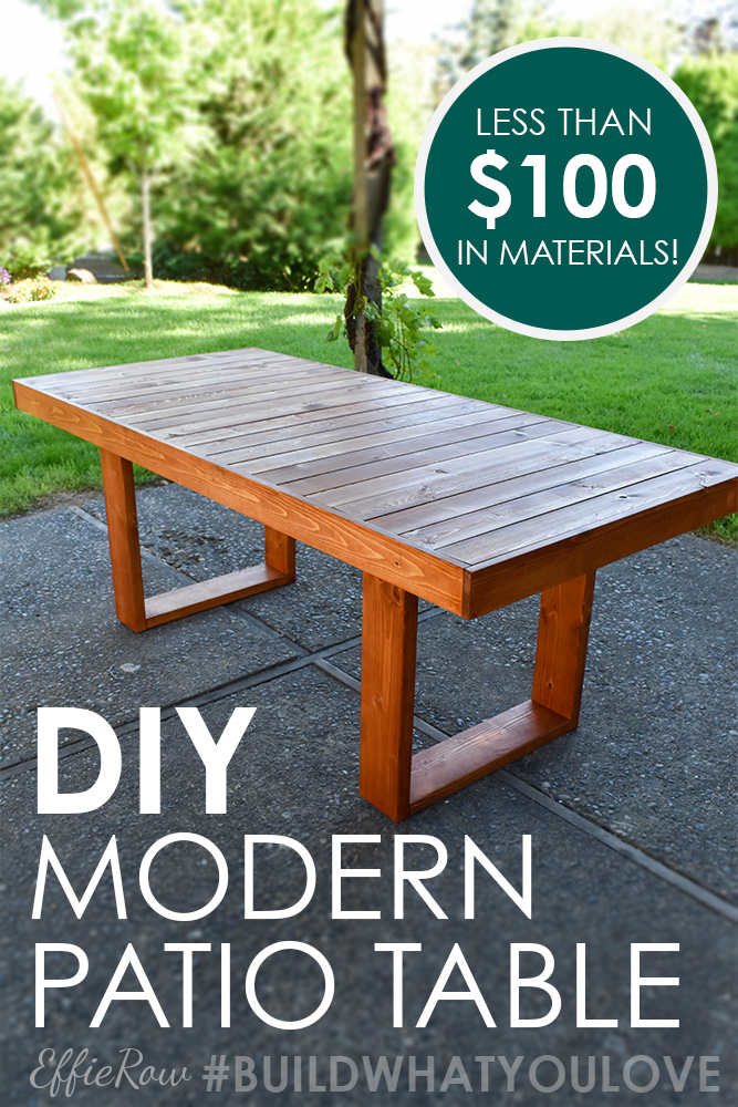 DIY modern patio table, a perfect Kreg Jig beginner's project for less than $100 in materials