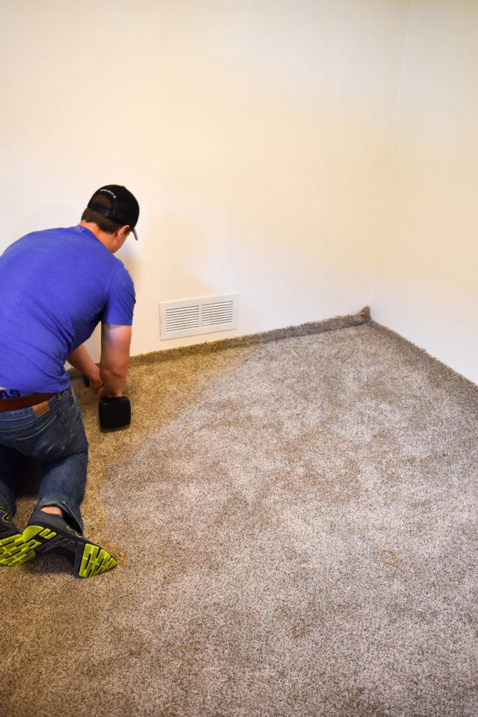 How to transplant carpet in your home - or - install new carpet. Rent a carpet kicker from a home improvement store, watch a couple YouTube videos, and get to work!