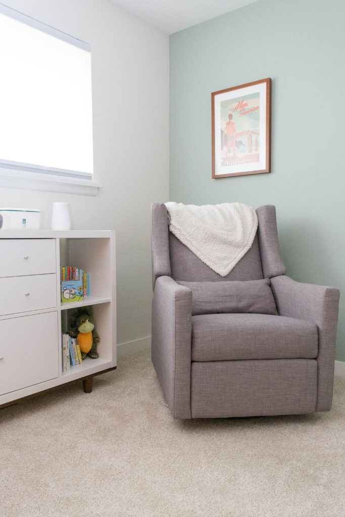 Babyletto Kiwi Glider in a mid century gender neutral nursery. Window treatments are cordless, blackout, AND light filtering - a must for daytime naps!