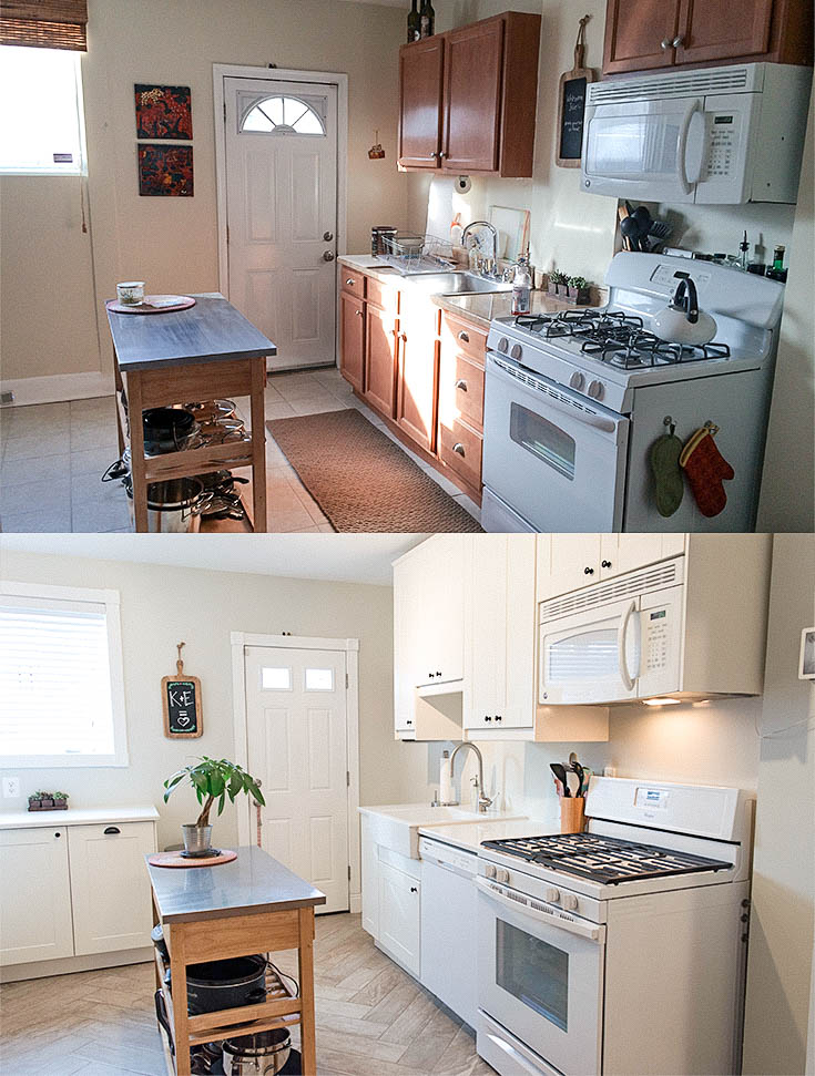 Before & After. Ikea Grimslov kitchen upgrade. White on white kitchen with herringbone tile floors. | from EffieRow.com