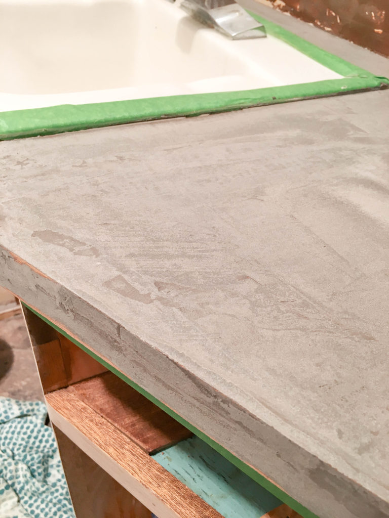 How to achieve durable faux concrete counters with Ardex Feather Finish and one simple ingredient. | EffieRow.com