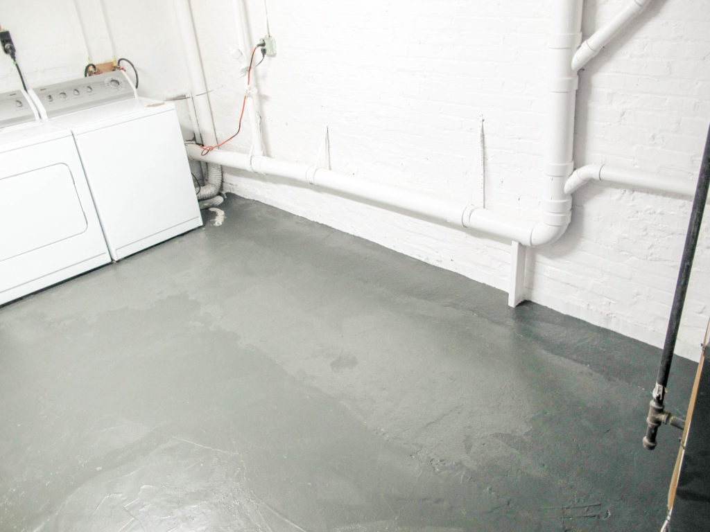 Renewing old basement concrete floors with paint! Great option for a budget!   EffieRow.com  #paintedbasementfloors #paintedfloors #basementflooroption #paintedlaundryfloor #basementlaundryroom
