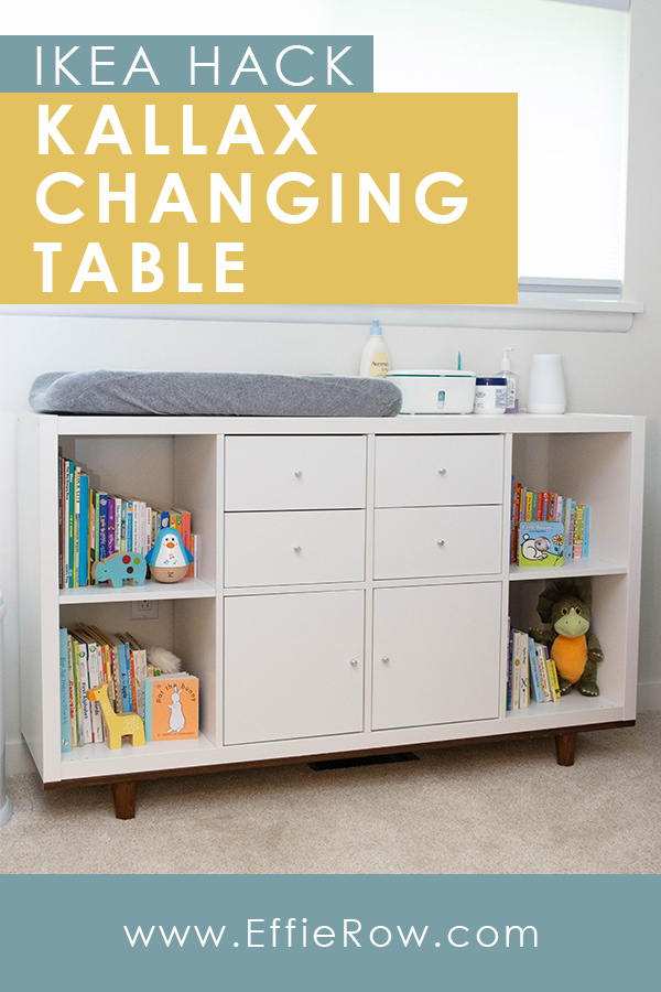 Ikea Kallax is a great budget-friendly option for a changing table. Super functional and customizable.