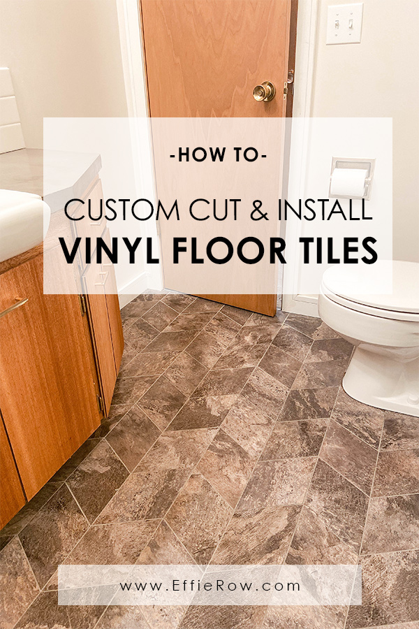 Such a great option for remodeling on a budget. Custom cut peel 'n stick vinyl tile floors for an expensive look.