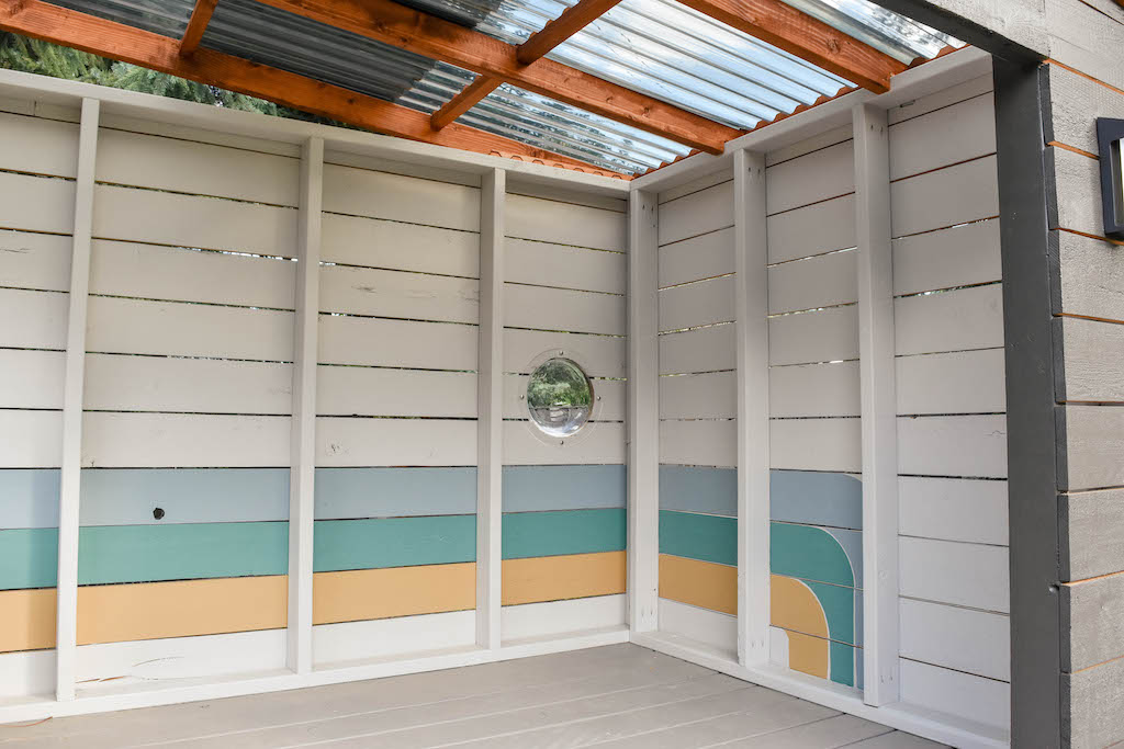 """Simple and fun playhouse accent wall using SW """"Paint To Go"""" samples."""