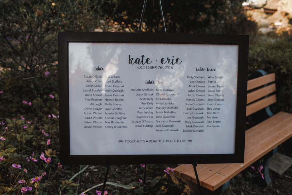 10 Ways to Personalize A Wedding - Simple framed seating chart printed on poster paper and framed.   EffieRow.com  #weddingseatingchart #seatingchart #DIYseatingchart #DIYweddingdecor #framedseatingchart #weddingseating