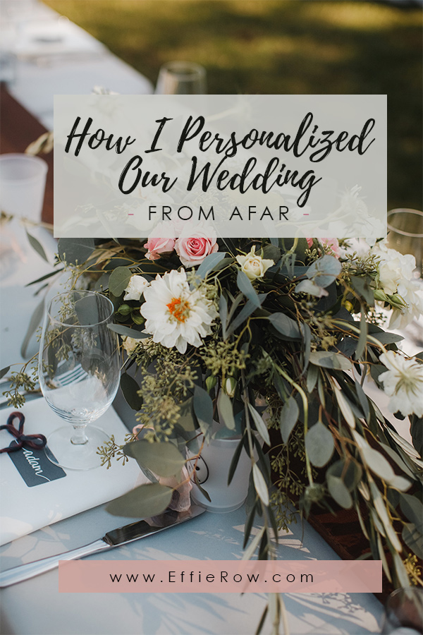 There's more than a few ways to personalize a wedding (from near or far!) - Having a destination wedding doesn't mean you can't DIY...  #destinationwedding #distancewedding #weddingdiy #diyweddingdecor