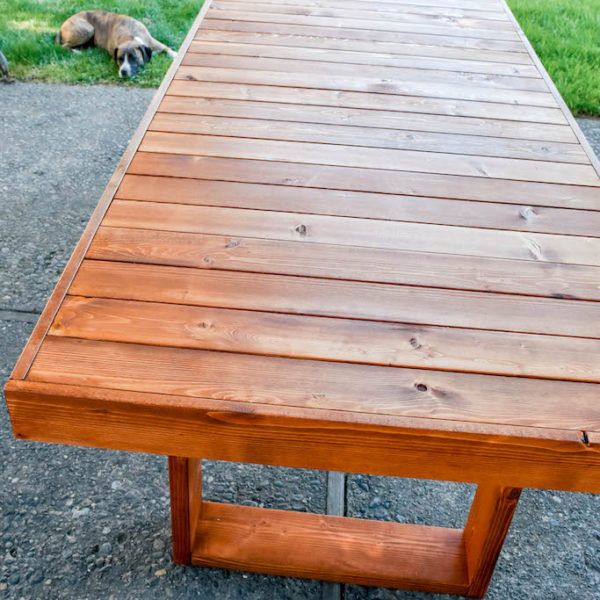 Staining our Modern Patio Table