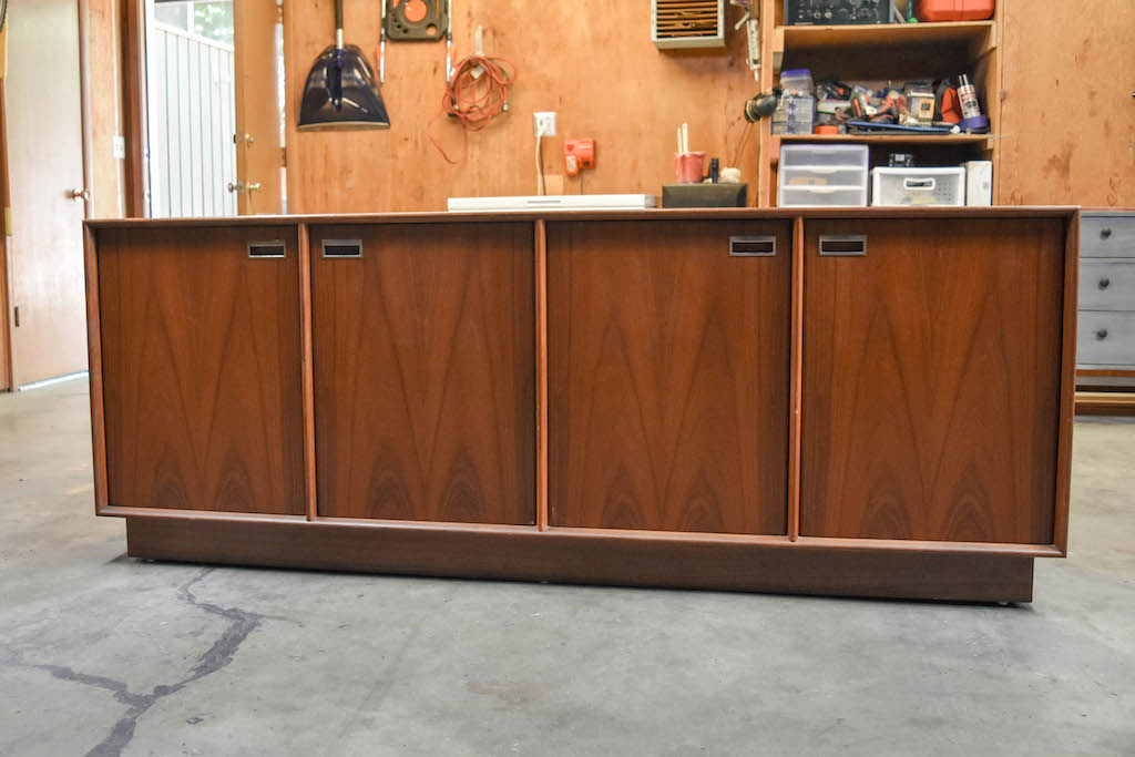 Mid-century teakwood Danish buffet. Stripped with Citristrip and restored with Watco Danish Oil and wipe on poly.