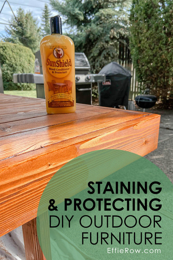 Refinishing our DIY modern patio table Cabot Australian Timber Oil and Howard's SunShield Wax. | EffieRow.com