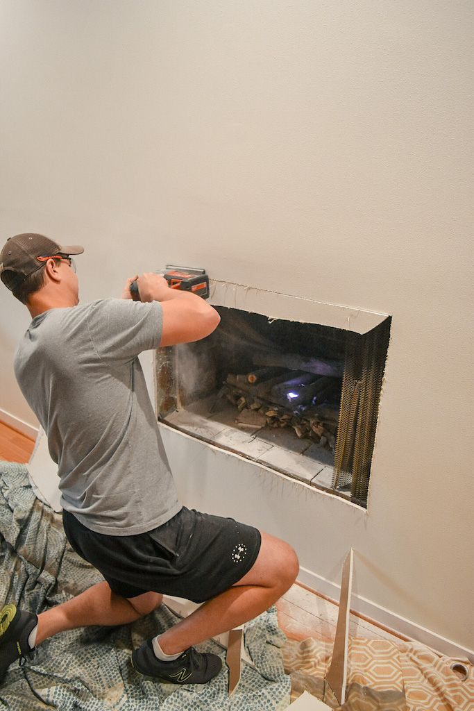Exposing a fireplace - and then covering it up with DIY textured canvas!