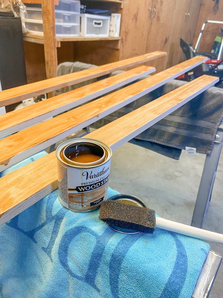 Staining the frame for our DIY textured wall art | EffieRow.com