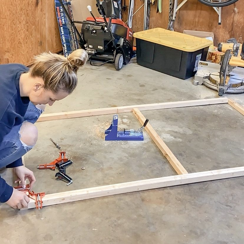 Building the frame for our large-scale textured canvas wall art. | EffieRow.com  #budgetfriendlyart #diywallart #texturedcanvas #diytexturedcanvas