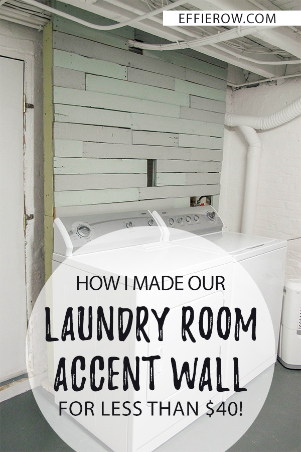 DIY laundry room accent wall to cover exposed pipes and fixtures. | EffieRow.com