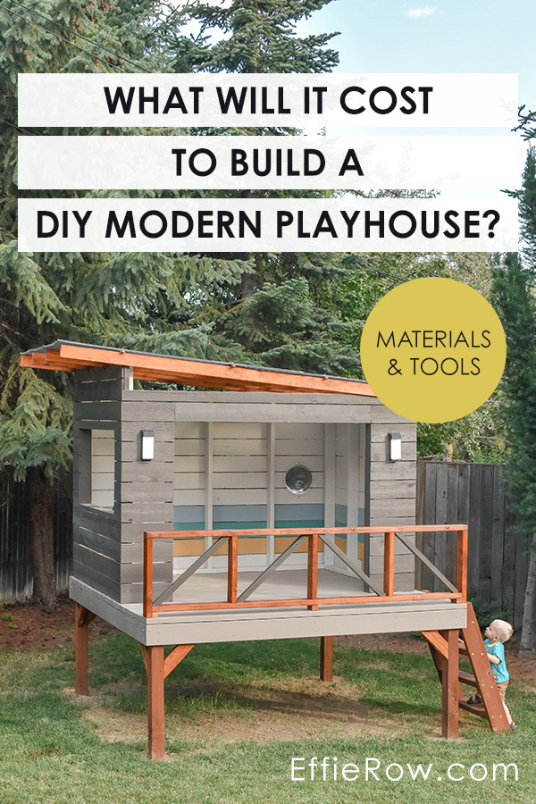 Materials and tools price breakdown for a DIY modern playhouse.   EffieRow.com  #modernplayhouse #playhouse #playhousedesign #DIYplayhouse #cubbyhouse #MCMplayhouse #kidsbackyard
